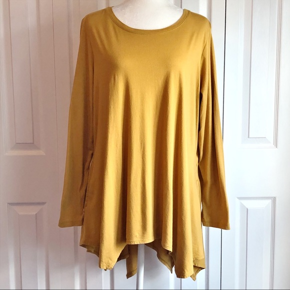 LOGO Lori Goldstein 1X Mustard Long Sleeve Tunic